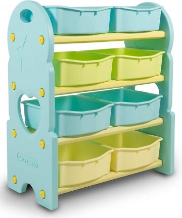 HomeCanvas-GL7245B-BLUE-Canvas-Children-Deluxe-Multi-Bin-Toy-Organizer-with-Storage-Bins-Toy-Boxes-and-Storage-Blue-Toy-Box-Stor