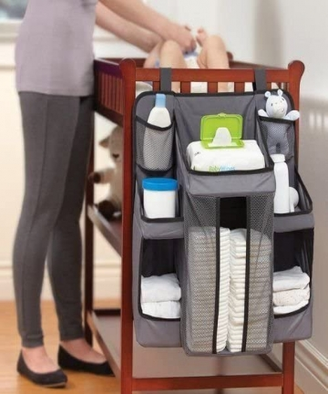 Hang-on-Crib-Changing-Table-Wall-Cot-Nursery-Organizer-Hanging-Diaper-Organization-Storage-for-Baby-Essentials-Multicolour-B07D3