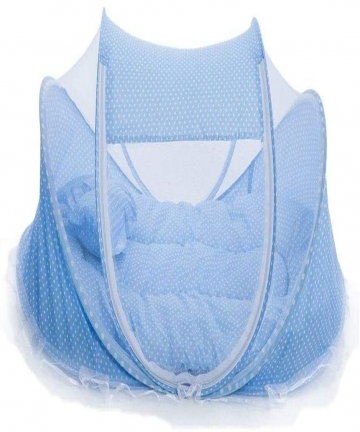 Newborn-Baby-Childrens-Bed-With-Pillow-Mat-Portable-Folding-Cot-With-Mosquito-Net-Point-Blue-B07NDMP746