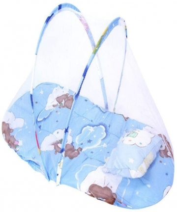 Newborn-Baby-Childrens-Bed-With-Pillow-Mat-Portable-Folding-Cot-With-Mosquito-Net-Blue-B07N6LL87J