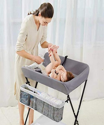 Baby-Changing-Table-Folding-Diaper-Station-Nursery-Organizer-for-Infant-Grey-B07NF3Z2VK