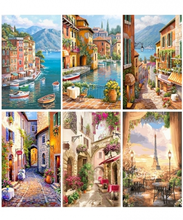 Gatyztory-Paint-By-Numbers-For-Adults-Children-Seaside-Town-DIY-HandPainted-Oil-Painting-Landscape-Picture-Home-Wall-Decor-Gift-