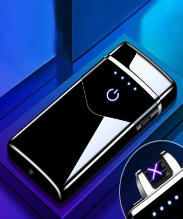 2020-Dual-Arc-USB-Electric-Lighter-LED-ScreenTouch-Fire-Plasma-Arc-Cigarette-Lighter-Windproof-Metal-Novelty-Lighter-Mens-Gift-4