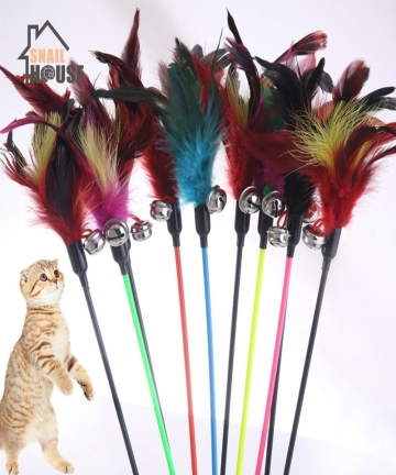 Snailhouse-2020-New-Cute-1PCS-Hot-Sale-Cat-Toys-Cats-Stick-Feather-With-Small-Bell-Natural-Safety-Pet-supplies-Random-Color-Gift