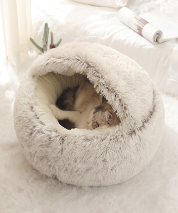 New-Pet-Dog-Cat-Round-Plush-Bed-Semi-Enclosed-Cat-Nest-for-Deep-Sleep-Comfort-in-Winter-Cats-Bed-Little-Mat-Basket-Soft-Kennel-1