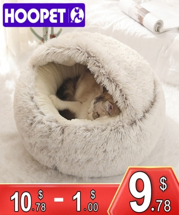 HOOPET-New-Style-Pet-Dog-Cat-Bed-Round-Plush-Cat-Warm-Bed-House-Soft-Long-Plush-Bed-For-Small-Dogs-For-Cats-Nest-2-In-1-Cat-Bed-