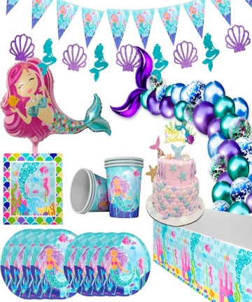 WEIGAO-Little-Mermaid-Party-Decor-Mermaid-Birthday-Party-Disposable-Tableware-Kit-Under-the-Sea-Girl-First-Birthday-Party-Supply