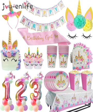 Unicorn-Birthday-Party-Decors-Disposable-Tableware-Kit-Unicorn-Balloon-Cups-Plates-Napkin-Kids-Birthday-Unicornio-Party-Supplies