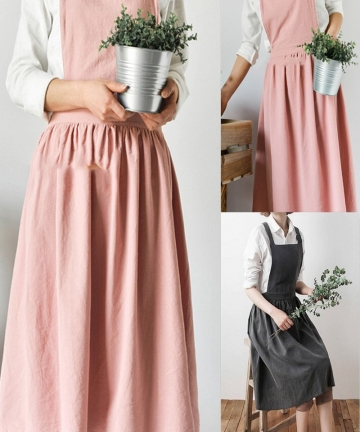 Nordic-Women-Lady-Skirt-Style-Collect-Waist-Cute-Dress-Restaurant-Coffee-Shop-Home-Kitchen-For-Cooking-Cotton-Apron-3-Colour-400