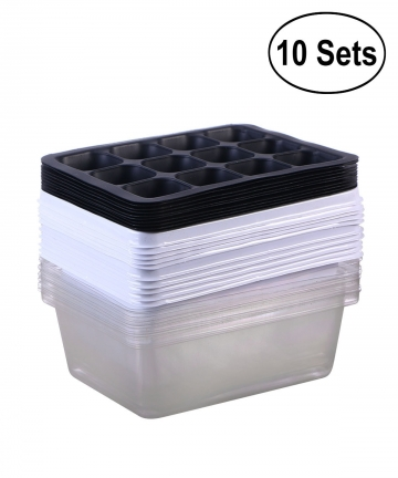 10-Pack-Seedling-Tray-Seed-Starter-Tray-with-Dome-and-Base-12-Cells-For-Gardening-Bonsai-White-1000005860315
