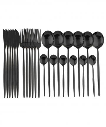 24pcs-Black-Dinnerware-Set-Stainless-Steel-Cutlery-Set-Fork-Knife-Spoon-Tableware-Set-Flatware-Set-Silverware-Set-Gift-Box-40003