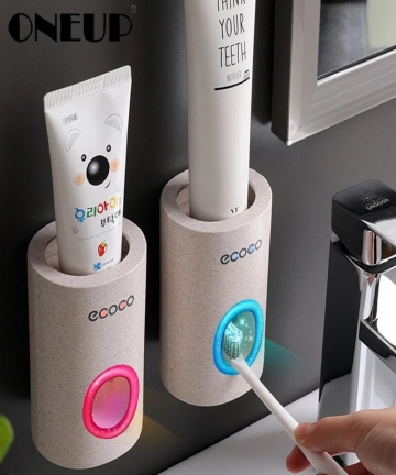 ONEUP-Automatic-Toothpaste-Dispenser-Dust-proof-Toothbrush-Holder-Wall-Mount-Stand-Toothpaste-Squeezer-Bathroom-Accessories-Set-