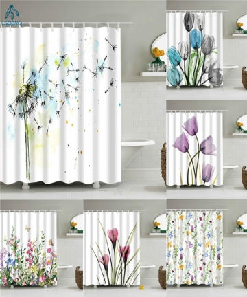 Flower-Dandelion-Red-Rose-Small-Fresh-Shower-Curtains-Bathroom-Curtain-Frabic-Waterproof-Polyester-Bathroom-Curtain-with-Hooks-4
