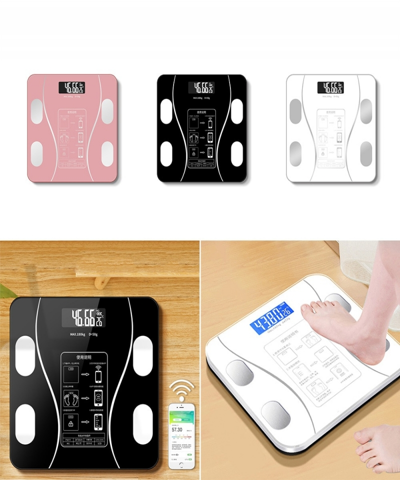 Body-Fat-Scale-Weight-Scales-Bluetooth-Electronic-Weighing-For-Body-Digital-Weight-Floor-Scales-Toughened-Glass-LCD-Display-1005