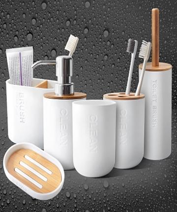 Simple-Household-Bathroom-Supply-Bamboo-Soap-Dish-Soap-Dispenser-Toothbrush-Holder-Soap-Holder-5pcsset-Bathroom-Accessories-Set-