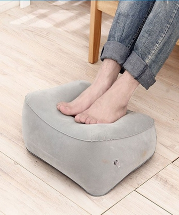 Portable-Pad-Mat-Footrest-Pillow-Home-Outdoor-Foot-Relief-Cushion-PVC-Gray-Train-Flight-Travel-Inflatable-Foot-Rest-Air-Pillows-