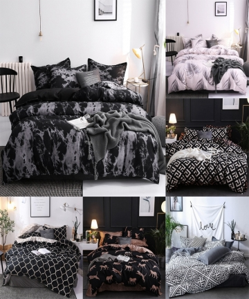 Simple-Bedclothes-Quilt-Cover-Pillowcase-Three-Piece-Bedding-Set-With-Pillow-Case-Single-Double-Comforter-Black-Duvet-Cover-4000