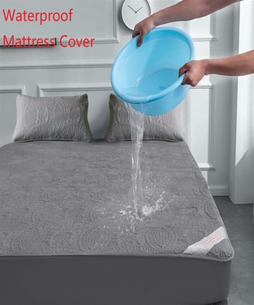 Super-Waterproof-Quilted-Mattress-Cover-Air-Permeable-Bed-Protector-Pad-Cover-Queen-Mattress-Topper-Not-Including-Pillowcase-400