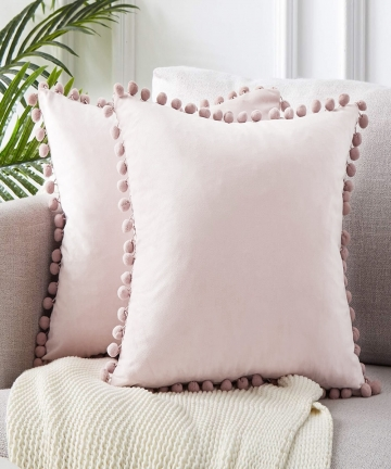 Green-Blue-Grey-Pink-Solid-Velvet-Decorative-Pillows-Case-Soft-Velvet-Cushion-Cover-With-Pompom-Ball-Sofa-Pillow-Cover-45x45cm-1