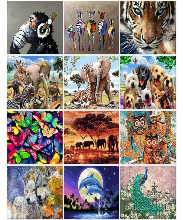 Animal-Set-Painting-By-Numbers-On-Canvas-Acrylic-Paint-For-Adult-DIY-Kits-Drawing-With-Frame-Picture-Coloring-By-Numbers-Decor-1