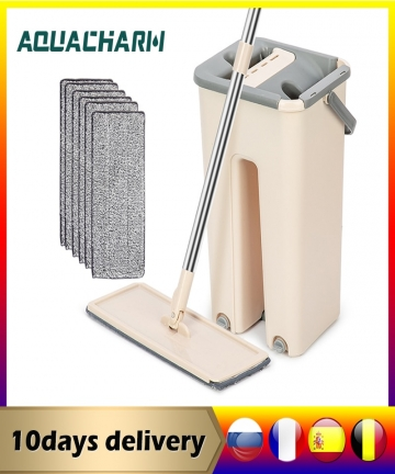 Flat-Squeeze-Mop-Lazy-Mop-with-Bucket-Wringing-Floor-Cleaning-Mop-Hand-Free-Microfiber-Mop-Pads-4001179956601