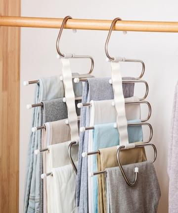 5-in-1-Pant-Rack-Hangers-for-Clothes-Multifunction-Shelves-Wardrobe-Closet-Storage-Organizer-StainlessSteel-Magic-Trouser-Hanger