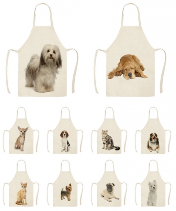 1Pc-Kitchen-Apron-Sketch-Wearing-Pug-Pet-Dog-Cat-Printed-Sleeveless-Cotton-Linen-Aprons-for-Men-Women-Home-Cleaning-Tools-WQ456-