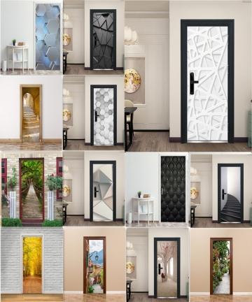 3D-Door-Decoration-Wallpaper-Modern-Design-Door-Sticker-Self-adhesive-Waterproof-Poster-Home-Door-Renew-Mural-Decal-deur-sticker
