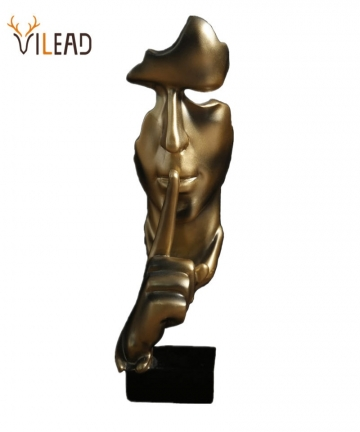 VILEAD-285cm-Resin-Silence-is-Gold-Statue-Abstract-Mask-Statuettes-Europe-Mask-Sculpture-Figurine-for-Office-Vintage-Home-Decor-