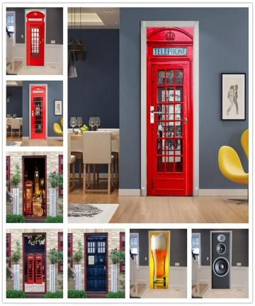 Door-Decoration-Wallpaper-3D-Wall-Sticker-Telephone-Police-Box-Mural-Self-adhesive-Vinyl-Decal-Home-Decor-DoorPoster-deursticker